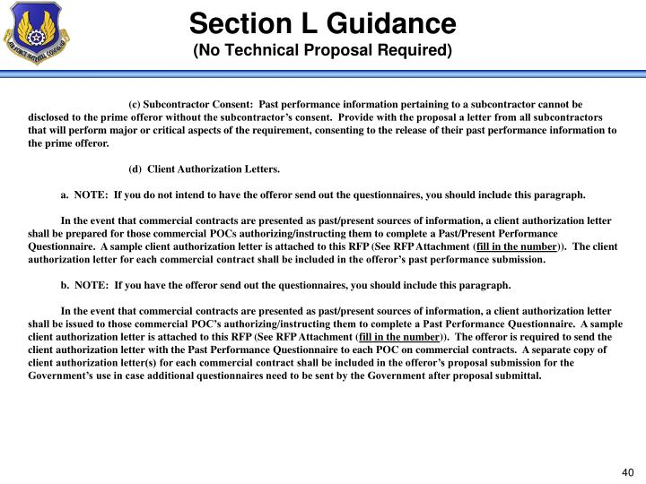 Section L Guidance