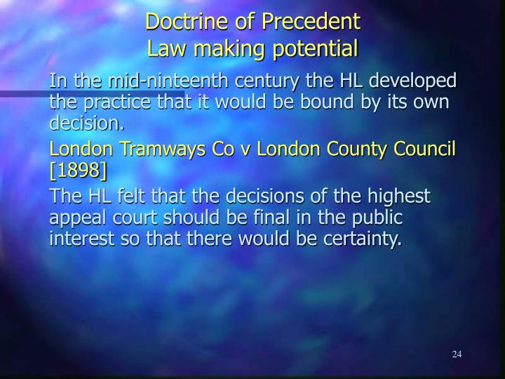 the law of precedent Note: to serve as precedent for a pending case, a prior decision must have a similar question of law and factual situation if the precedent is from the same or a superior jurisdiction (as the state's supreme court), it is binding upon the court and must be followed if the precedent is from another jurisdiction (as another state's supreme.