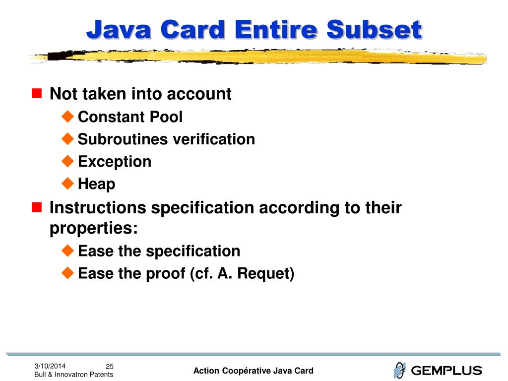 Java Card Entire Subset