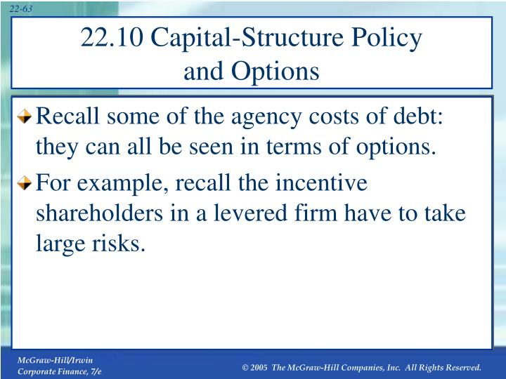 Recall some of the agency costs of debt: they can all be seen in terms of options.