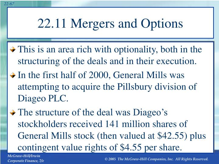 22.11 Mergers and Options