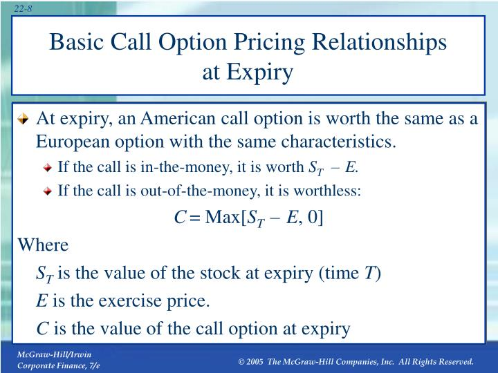 Basic Call Option Pricing Relationships