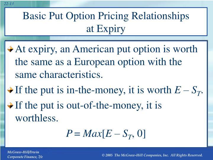 Basic Put Option Pricing Relationships