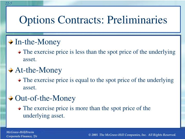 Options Contracts: Preliminaries