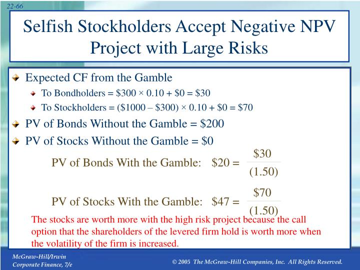 PV of Bonds With the Gamble: