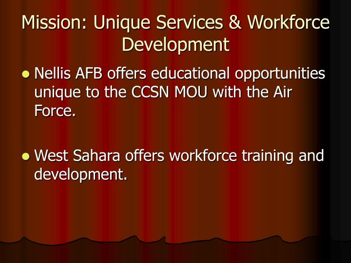 Mission: Unique Services & Workforce Development