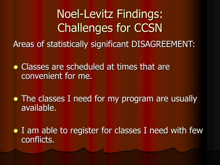 Noel-Levitz Findings: