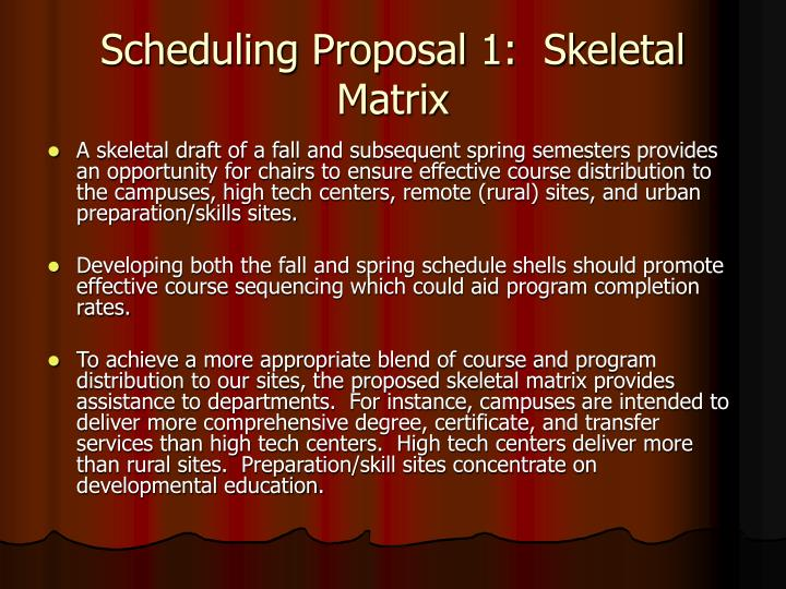 Scheduling Proposal 1:  Skeletal Matrix
