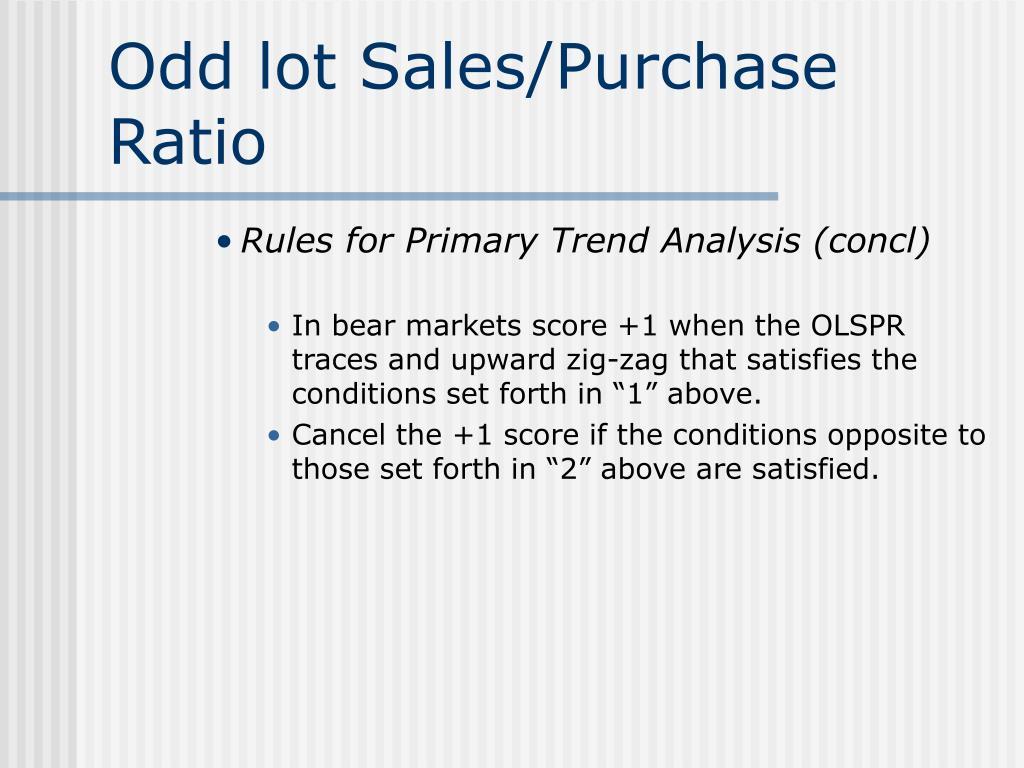 Odd lot Sales/Purchase Ratio