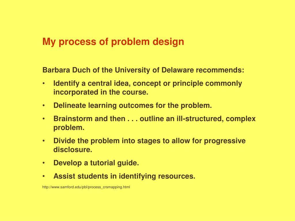 My process of problem design
