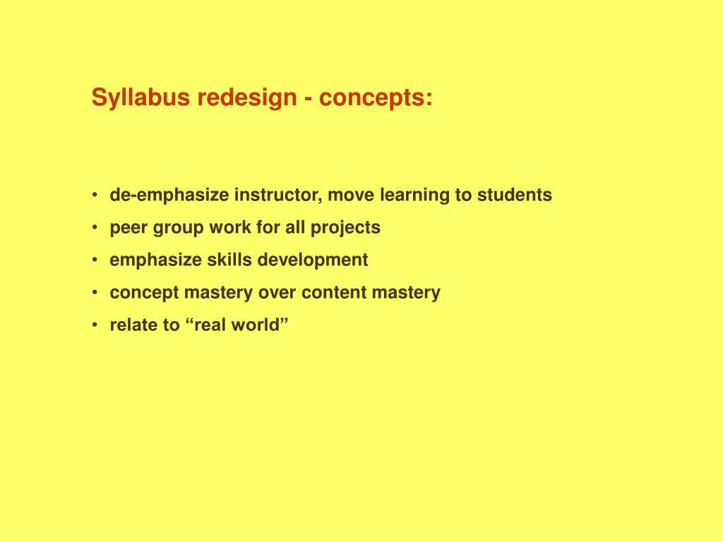 Syllabus redesign - concepts: