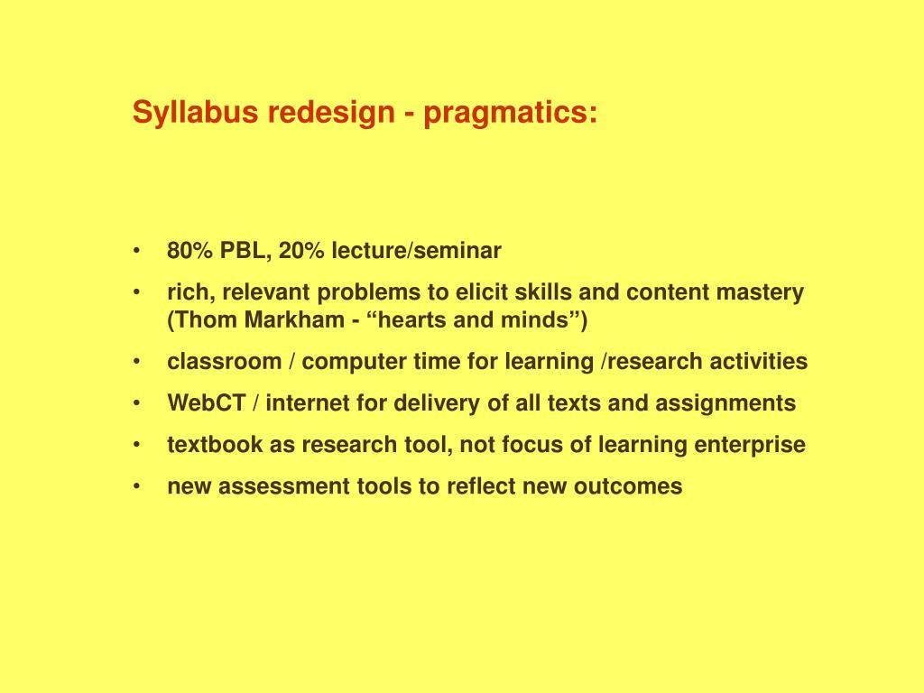 Syllabus redesign - pragmatics: