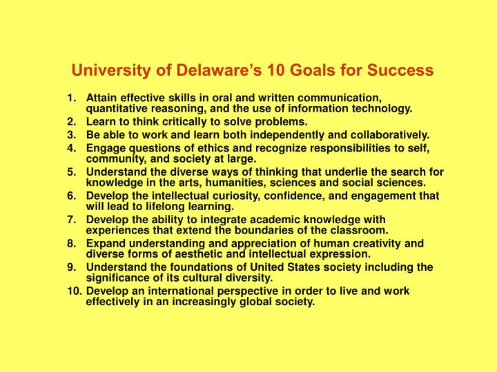 University of delaware s 10 goals for success