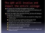 the qep will involve and impact the entire college