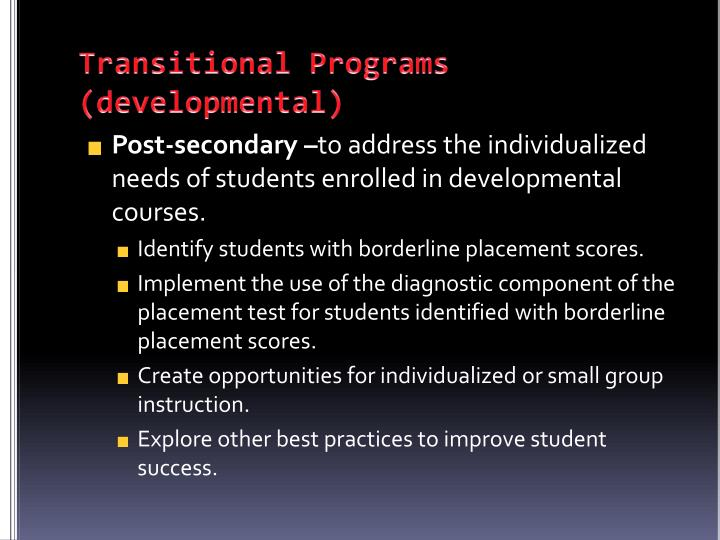 Transitional Programs (developmental)