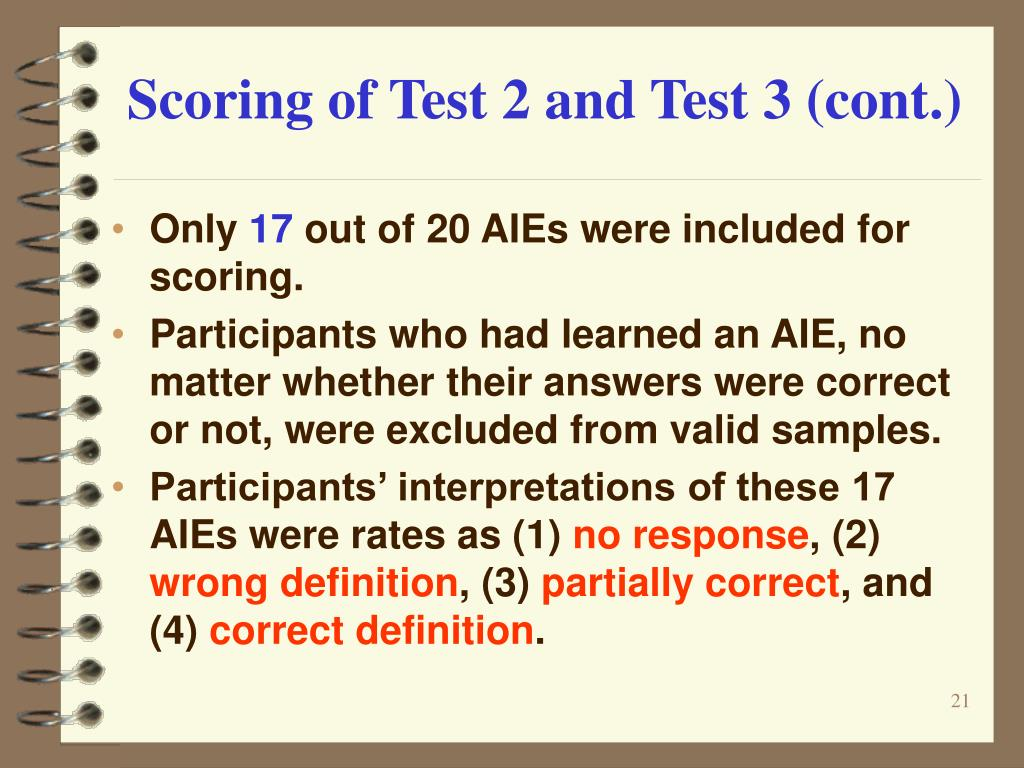 Scoring of Test 2 and Test 3 (cont.)