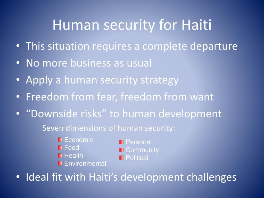 Human security for Haiti