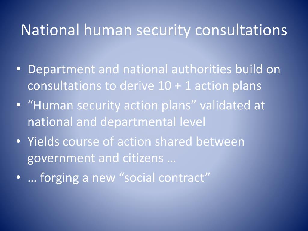 National human security consultations