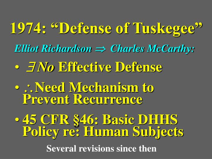 "1974: ""Defense of Tuskegee"""