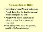 composition of irbs