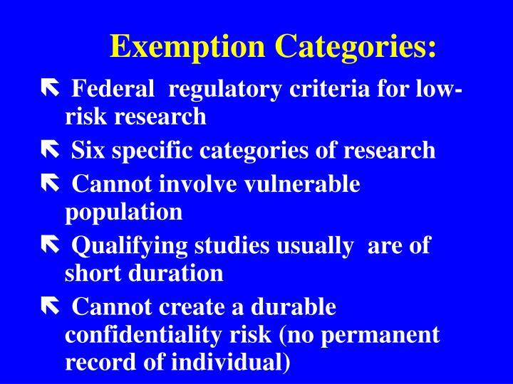Exemption Categories: