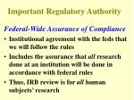 important regulatory authority