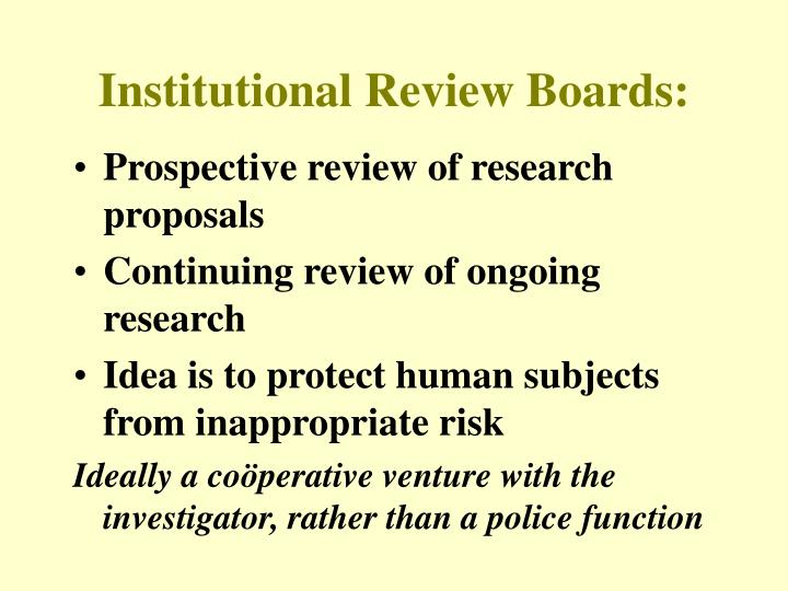 Institutional Review Boards: