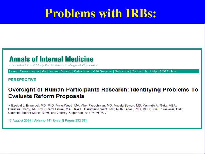 Problems with IRBs: