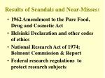 results of scandals and near misses