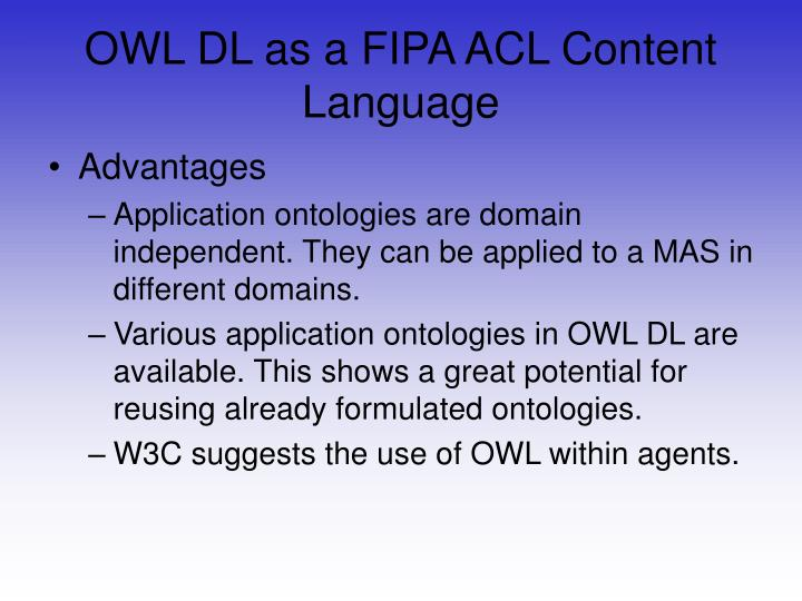 OWL DL as a FIPA ACL Content Language