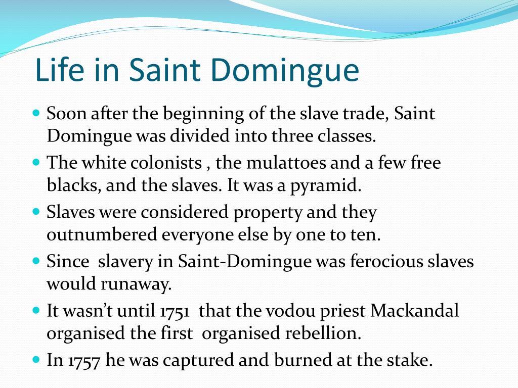 Life in Saint Domingue