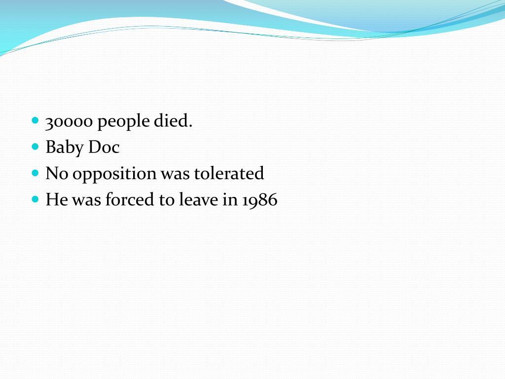 30000 people died.