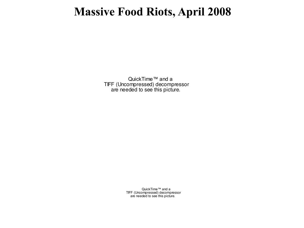 Massive Food Riots, April 2008