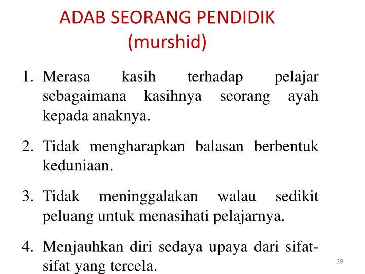 ADAB SEORANG PENDIDIK (