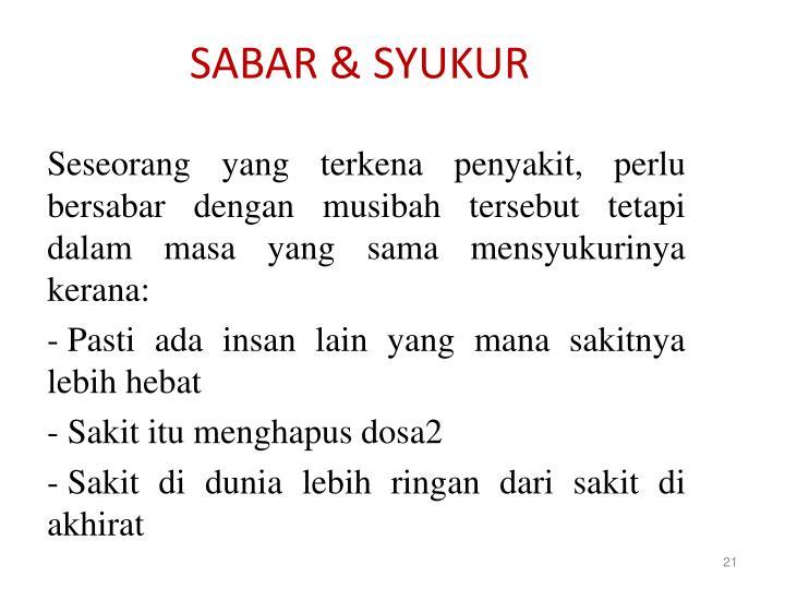 SABAR & SYUKUR