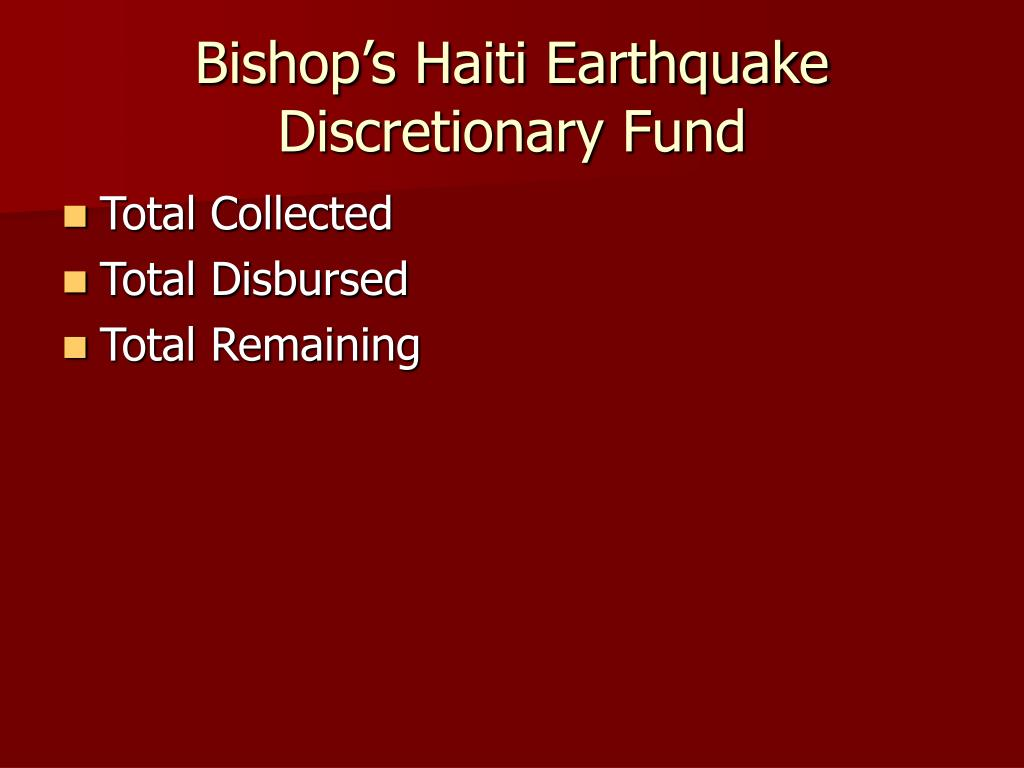 Bishop's Haiti Earthquake Discretionary Fund