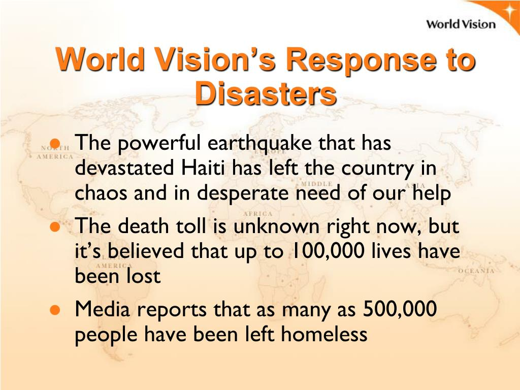 World Vision's Response to Disasters