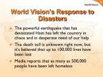 world vision s response to disasters