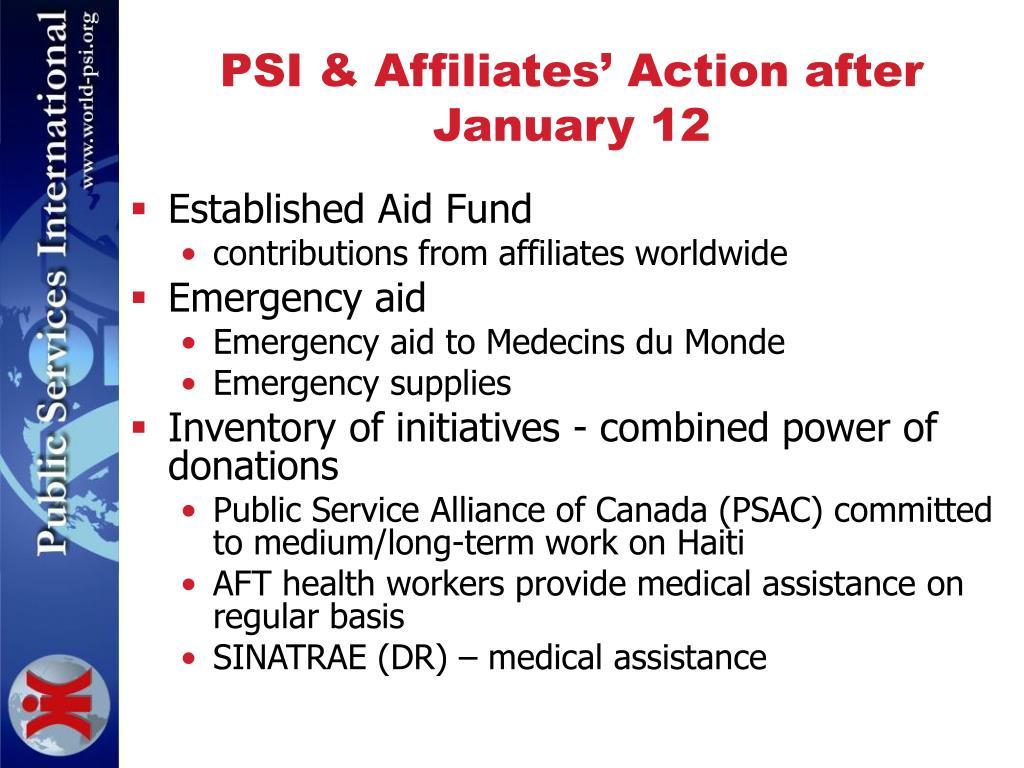 PSI & Affiliates' Action after