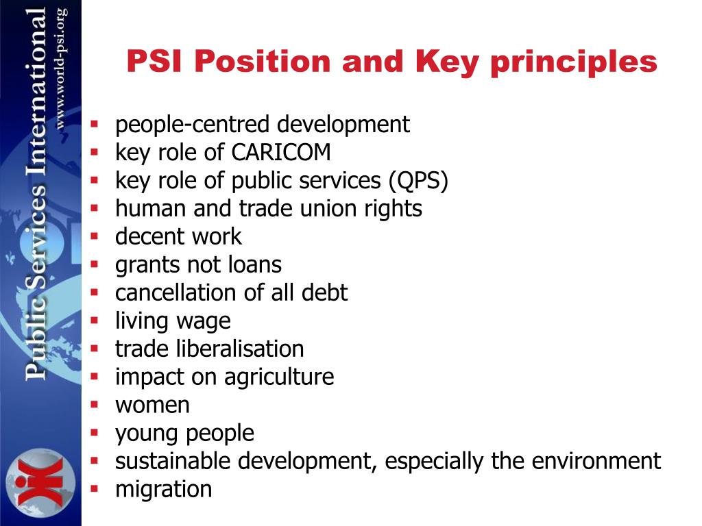 PSI Position and Key principles