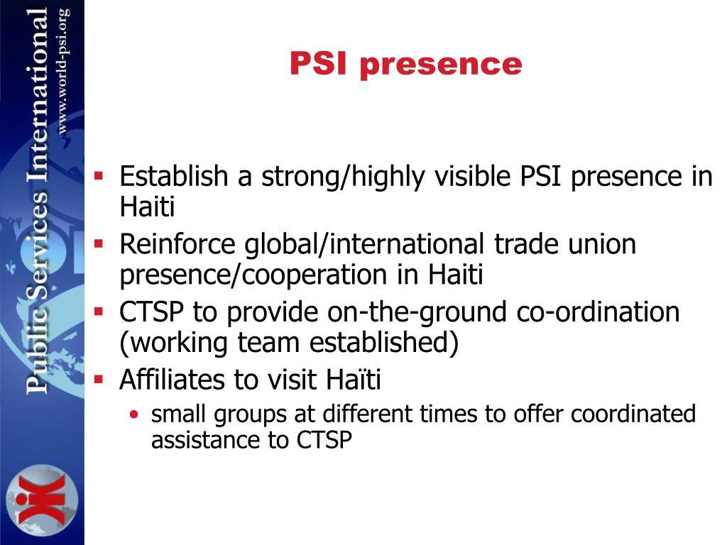 PSI presence