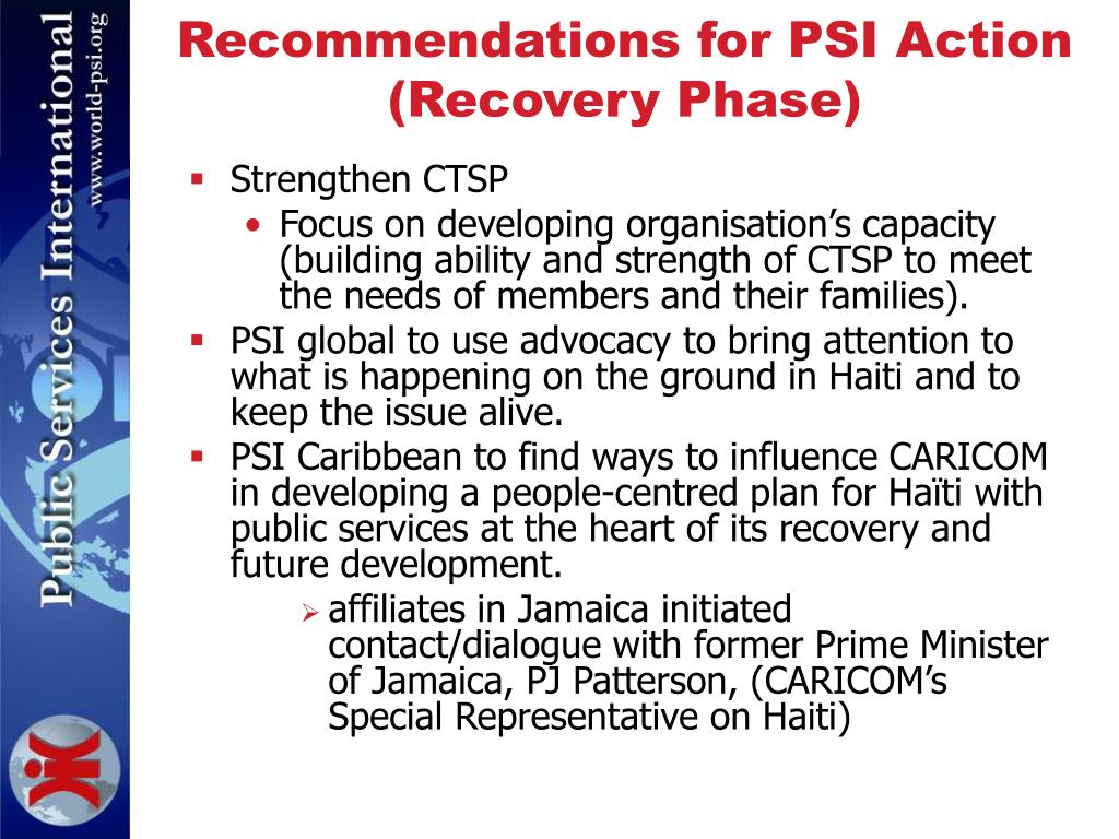 Recommendations for PSI Action