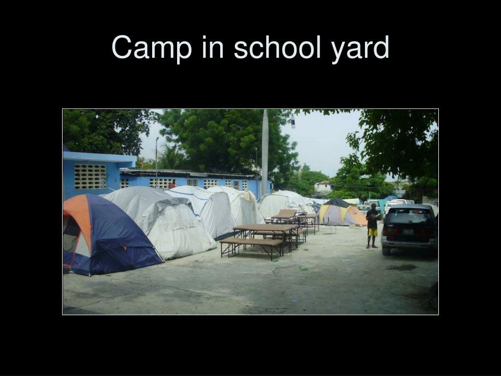 Camp in school yard