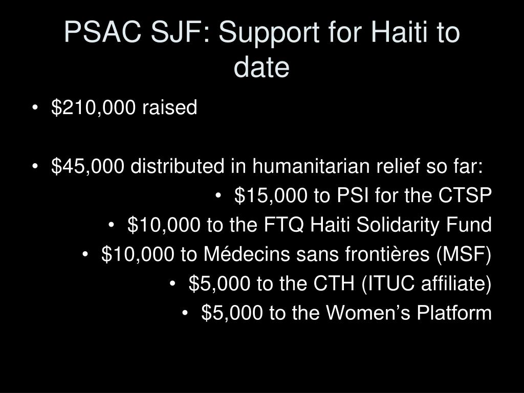 PSAC SJF: Support for Haiti to date