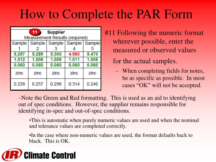 How to Complete the PAR Form