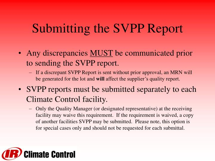 Submitting the SVPP Report