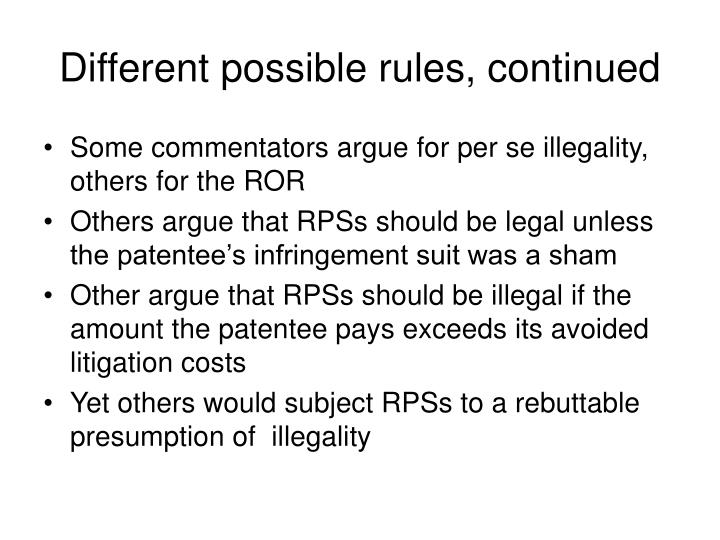 Different possible rules, continued