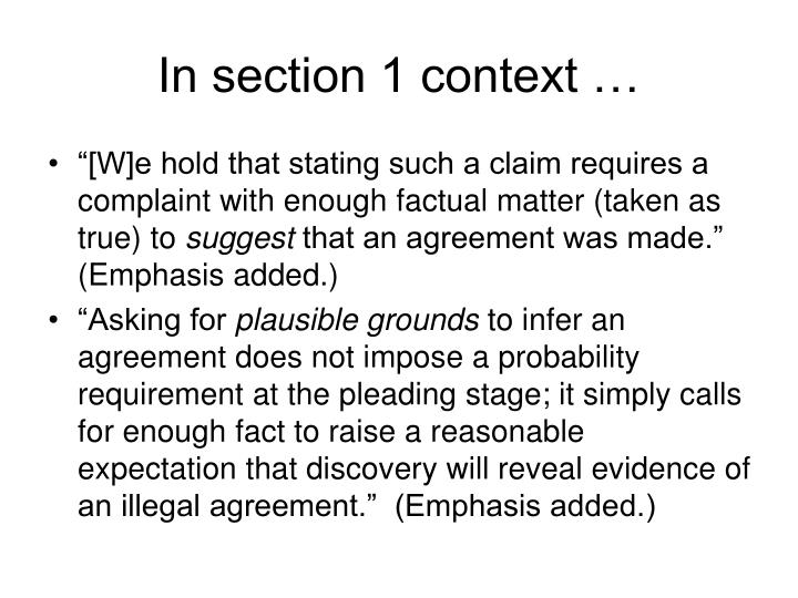 In section 1 context …