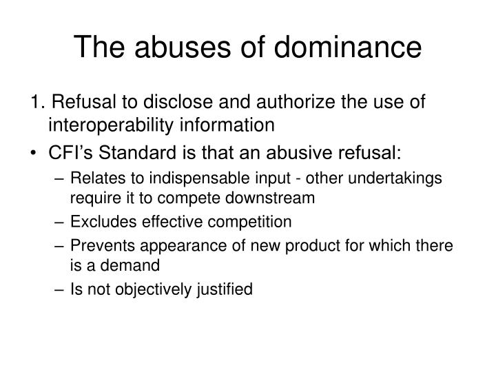 The abuses of dominance