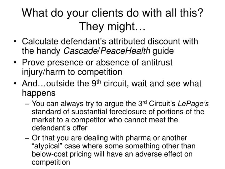 What do your clients do with all this? They might…